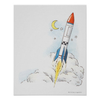 Illustration of a rocket taking off poster