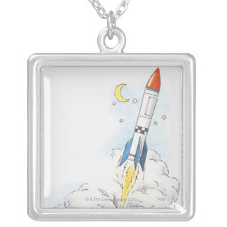 Illustration of a rocket taking off silver plated necklace