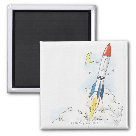 Illustration of a rocket taking off square magnet