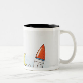 Illustration of a rocket taking off Two-Tone coffee mug