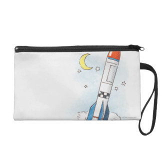 Illustration of a rocket taking off wristlet