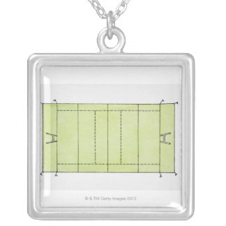 Illustration of a rugby pitch silver plated necklace