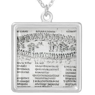 Illustration of a scene from one of the Psalms Silver Plated Necklace