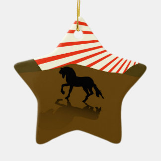Illustration of a silhouette of a stallion. christmas ornament