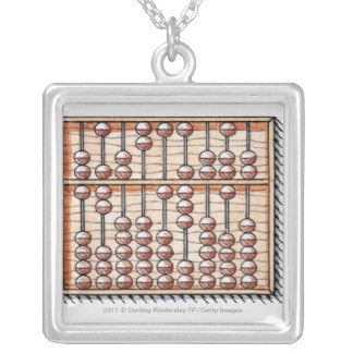 Illustration of abacus silver plated necklace