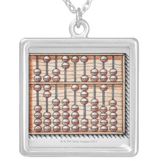 Illustration of abacus square pendant necklace