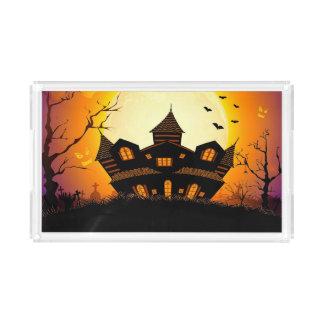 Illustration Of Abandoned Haunted House Acrylic Tray