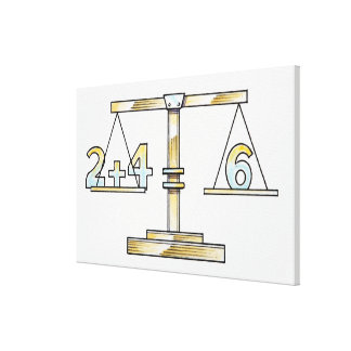 Illustration of adding numbers on scales canvas print