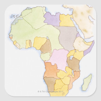 Illustration of African territories and states Square Sticker