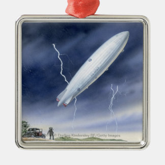 Illustration of airship being struck by lightning christmas ornament