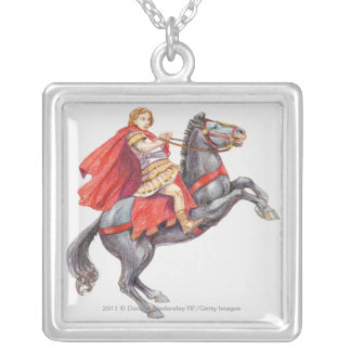 Illustration of Alexander the Great Silver Plated Necklace