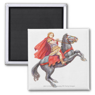 Illustration of Alexander the Great Square Magnet