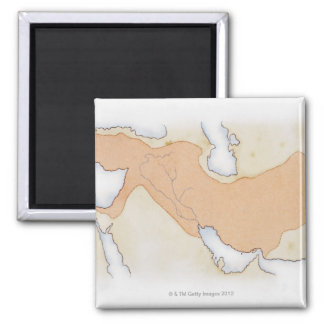 Illustration of Alexander The Great's Empire Square Magnet