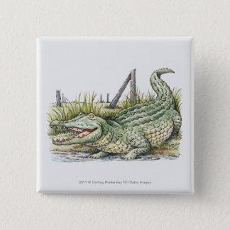 Illustration of alligator on the shore 15 cm square badge