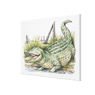 Illustration of alligator on the shore canvas print