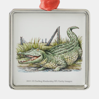 Illustration of alligator on the shore christmas ornament
