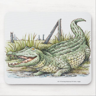 Illustration of alligator on the shore mouse pad