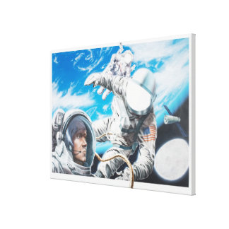 Illustration of American astronauts in space Canvas Print
