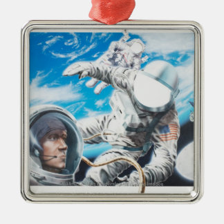 Illustration of American astronauts in space Christmas Ornament