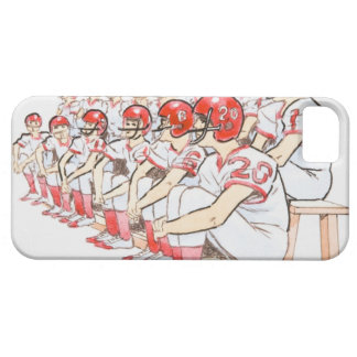 Illustration of American football team sitting Barely There iPhone 5 Case