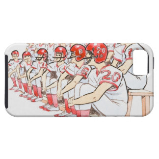 Illustration of American football team sitting Case For The iPhone 5