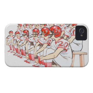 Illustration of American football team sitting Case-Mate iPhone 4 Cases
