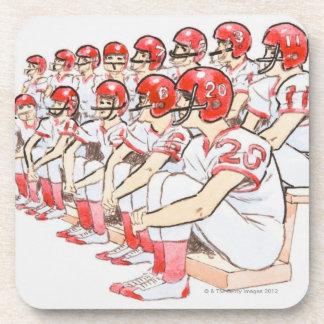 Illustration of American football team sitting Coaster