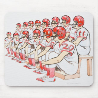 Illustration of American football team sitting Mouse Mat