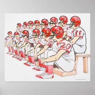 Illustration of American football team sitting Poster