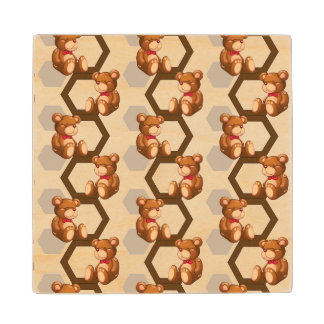 illustration of an array of teddy bear on white wood coaster