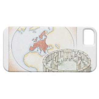 Illustration of ancient stone circle in front of barely there iPhone 5 case