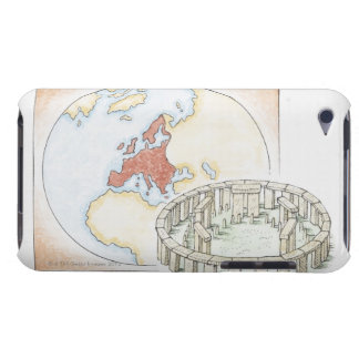 Illustration of ancient stone circle in front of barely there iPod case