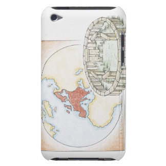 Illustration of ancient stone circle in front of iPod touch covers