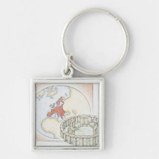 Illustration of ancient stone circle in front of key ring
