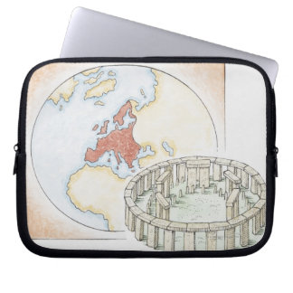Illustration of ancient stone circle in front of laptop sleeve