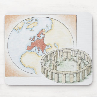 Illustration of ancient stone circle in front of mouse mat