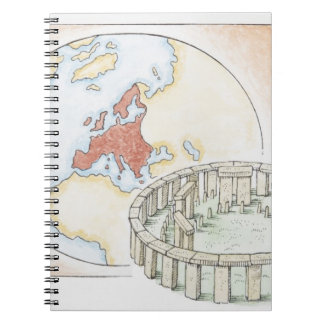 Illustration of ancient stone circle in front of notebook