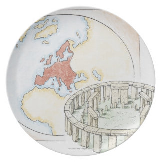 Illustration of ancient stone circle in front of plate
