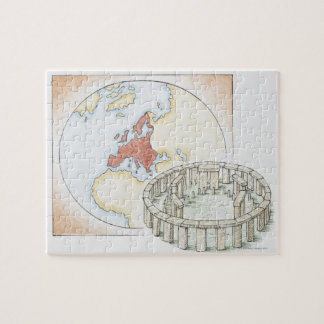 Illustration of ancient stone circle in front of puzzles