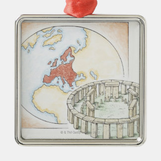 Illustration of ancient stone circle in front of Silver-Colored square decoration