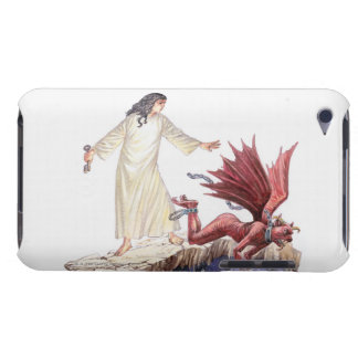 Illustration of angel looking on as red dragon iPod touch covers