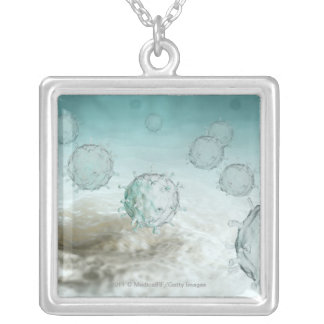 Illustration of avian flu cells silver plated necklace