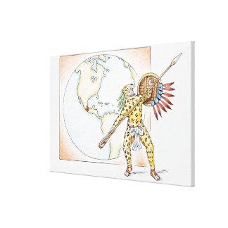 Illustration of Aztec Jaguar Warrior Canvas Print