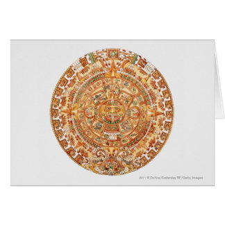 Illustration of Aztec sun stone Card