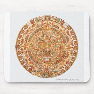 Illustration of Aztec sun stone Mouse Mat