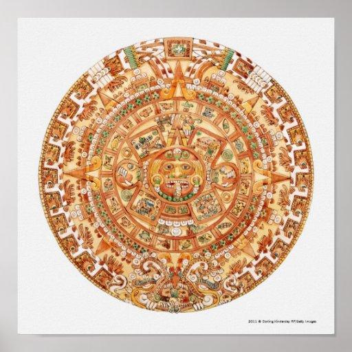 Illustration of Aztec sun stone Poster