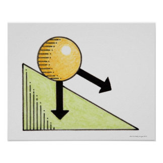 Illustration of ball moving down a slope, arrows poster
