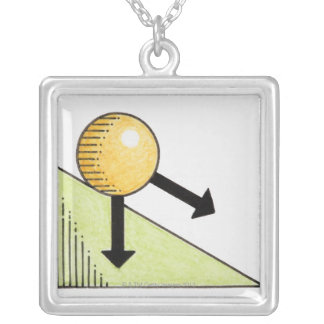 Illustration of ball moving down a slope, arrows silver plated necklace