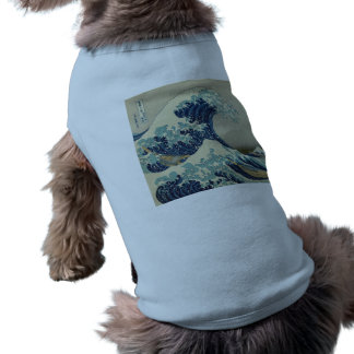 Illustration of blue japanese wave sleeveless dog shirt