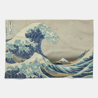 Illustration of blue japanese wave tea towel